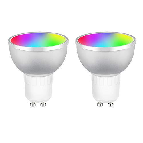 GU10 Bombillas LED inteligentes, Zigbee Spot Light Bulb 5W RGBCW Regulable Luz blanca cálida Trabaja con Alexa Echo Plus Google Home, Tuya App Control
