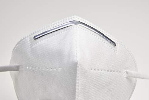 [10 Stück] 5-lagige Mund und Nasenschutz Maske Atemschutzmaske Halbmaske mit 95% Filtration und Aluminium Nasen Clip - 5