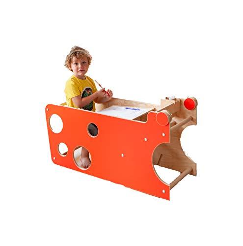 La Torre de Leea, Torre de aprendizaje Montessori con silla alta, mesa para actividades, tobogán, pizarra magnética (Rojo) (Producto para bebé)