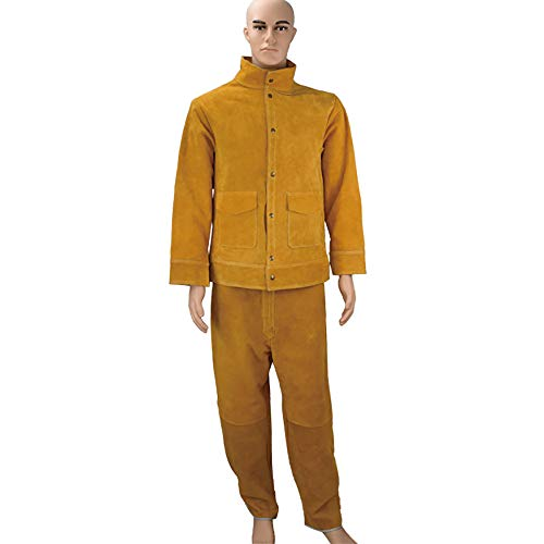 AgByy Orange Flame Resistant Welding Overall Arbeitskleidung Herren Overalls Kesselanzug Rindsleder Arbeitstücher Worker Jacket,XL