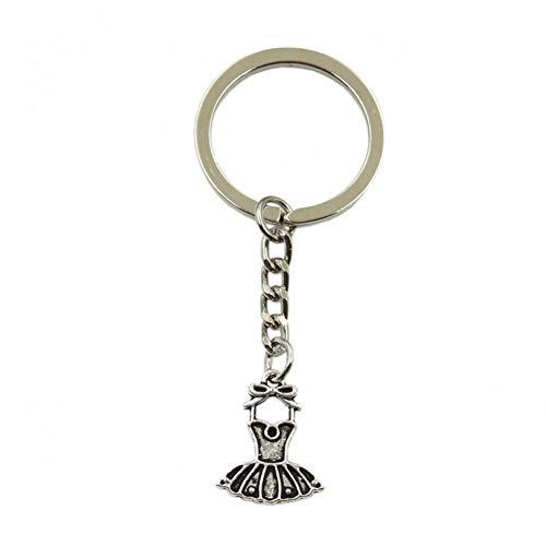 SGDONG Fashion Sleutelhanger voor heren, van metaal, zilverkleurig, balletje, balletjurk, ballerina-rok