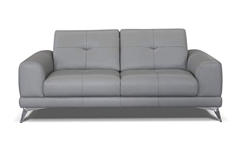 Marchio Amazon -Alkove, divano in pelle modello Aldan, stile moderno, maxi 2 posti, colore grigio chiaro