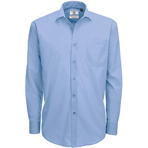 B&C Smart Long Sleeve Poplin Shirt Chemise, Bleu (Business Blue 000), 19.5 (Taille Fabricant: XXXX-Large) Homme