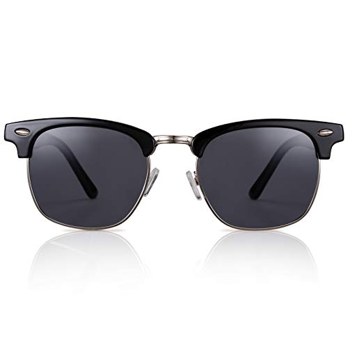 GreenTreen Gafas de sol, medio marco, clásico, retro, de metal, para hombres y mujeres, gafas de sol polarizadas, UV400 (gris)