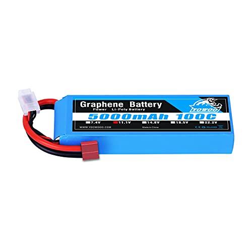 YOWOO Batería de grafeno 3S 5000mAh 100C 11.1V Lipo Batería recargable con Deans T Plug para vehículos a escala 1/8 Arrma Slash VXL Slash 4x4 VXL E-maxx Brushless Axial e-revo Brushless Spartan Models