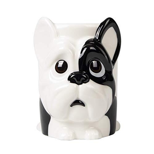 el & groove 3D Französische Bulldogge Tasse groß in weiß, Tee-Tasse 350 m aus Porzellan, Kaffee-Tasse, Hunde-Tasse, Dog Mug, French Bulldog, Hunde Deko Becher, Geschenk Weihnacht, Geschenk Hund Mann