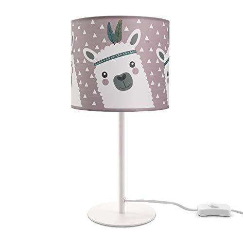 Paco Home Kinderlampe LED Tischlampe Kinderzimmer Lampe Mit Lama-Motiv, Tischleuchte E14, Lampenfuß:Weiß + Leuchtmittel, Lampenschirm:Pink (Ø18 cm)