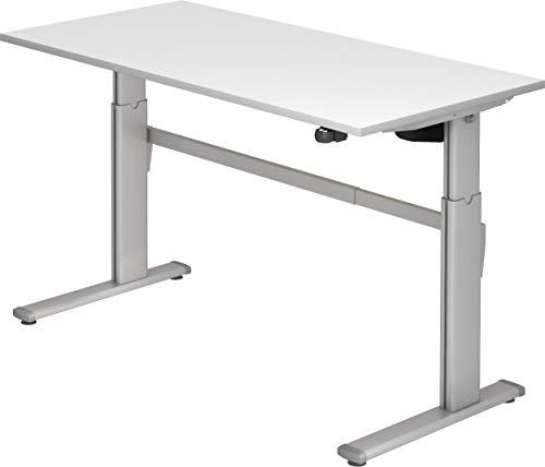 bümö® ergonomischer Schreibtisch elektrisch höhenverstellbar | Büroschreibtisch XM in 5 Größen & 6 Dekoren (Weiß, Rechteck: 160x80 cm)