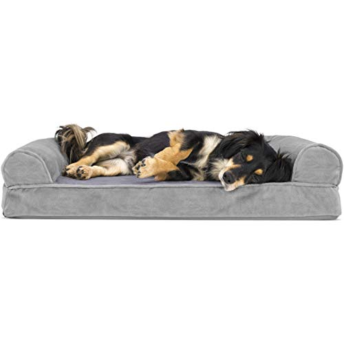 Furhaven Pet Dog Bed - Orthopedic Faux Fur and Velvet Traditional Sofa-Style Living Room Couch Pet Bed with Removable Cover for Dogs and Cats, Smoke Gray, Medium