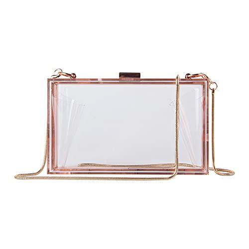 EVEOUT Mujeres Acrílico Moda Transparente Embragues de la Noche Caja Transparente Bolso de la Jalea de la Cruz del Cuerpo del Bolso del Monedero de Las Señoras Regalo (Oro rosa transparente)
