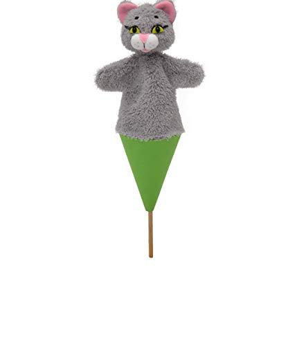MU Brno - Marioneta de mano de gato gris, 3 en 1, 36 cm.