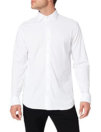 Jack & Jones JPRBLAKNIT Oxford Shirt L/S Camisa de Vestir, Blanco/Ajuste: Slim fit, L para Hombre