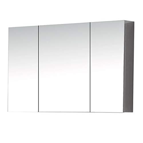 GXFC Badezimmerschrank zur Wandmontage, Dreitüriger Spiegelschrank für rahmenloses Bad, Badezimmerspiegelschrank, Platz sparen, Edelstahl - gebürstet