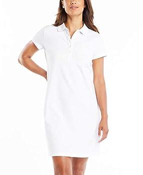Nautica Women s Easy Classic Short Sleeve Stretch Cotton Polo Dress Bright White Medium