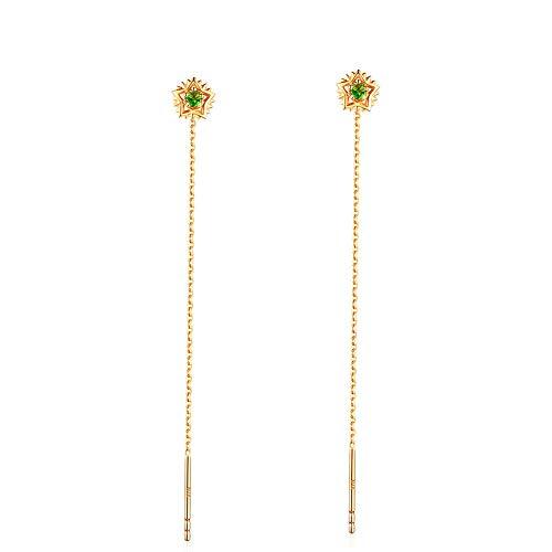 Vrouwen Oorbellen - Zoete 14K Gouden Ster Dangle Naald Drop Threader Trekken Door Oorbellen Lange Ketting Oor Lijn voor Vrouwen Gift