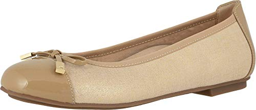 Vionic Women's Spark Minna Ballet Flat - Ladies Cap Toe Walking Flats with Concealed Orthotic Arch Support Metallic Champagne 8 Narrow US
