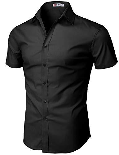 H2H Mens Casual Slim Fit Short Sleeve Shirts Black US XL/Asia 2XL (KMTSTS0132)