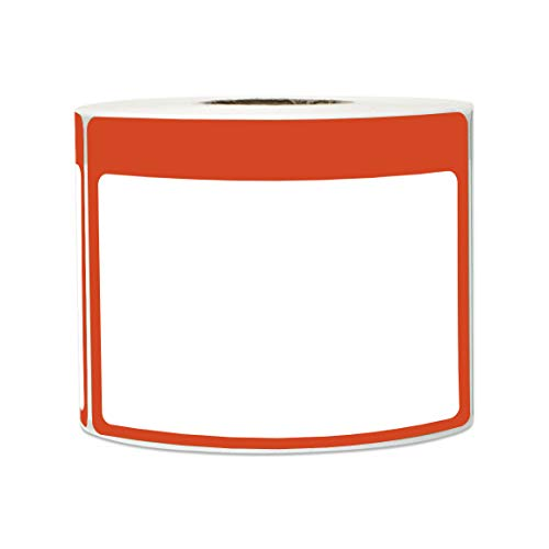 300 Labels - Name Tag Stickers Write-On Surface with Colorful Border for Visitor Badges (3.5 x 2.25 Inch, Red, 1 Roll)