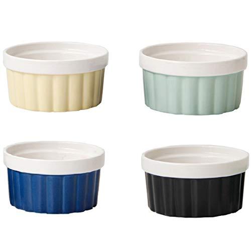 Camisin Plato de porcelana para soufflé, ramekins para hornear onza para soufflé, crema brulee