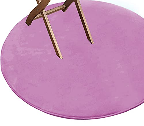 Yoole EU Alfombra redonda antideslizante, suave, 100 x 100 cm, color sólido, alfombra redonda esponjosa para estudio, dormitorio, sala de estar (80 cm, morado)