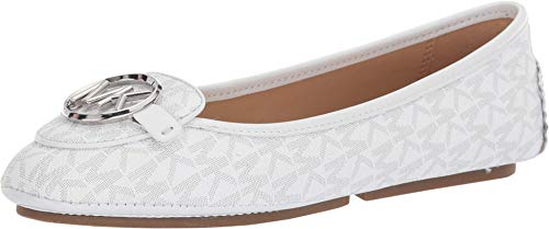 MICHAEL Michael Kors Lillie Moc Bright White Mini Mk Logo Coated Canvas/Patent 5.5
