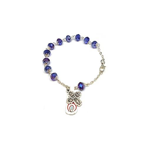 DELL'ARTE Artículos religiosos, pulsera rosario de cristal borealizado, 8 x 6 m, con copas, color azul