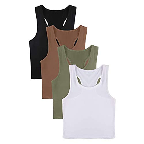 lady hill-iu Frauen 4 Stück Basic Crop Tank Tops Racerback Ärmelloses Crop Sport Cotton Top