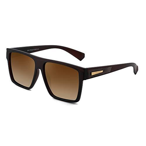 JIM HALO Gafas de sol retro polarizadas para hombres y mujeres Gafas de conducción cuadradas con parte superior plana (Marco marrón/Lente marrón polarizada)