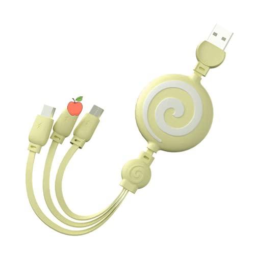 NLZNKZJ 2 PCS Cable de Cargador múltiple, 3 en 1 USB retráctil 3A Cable de Carga rápida Universal Compatible con tabletas de teléfono Celular Lightening Type-C Micro USB