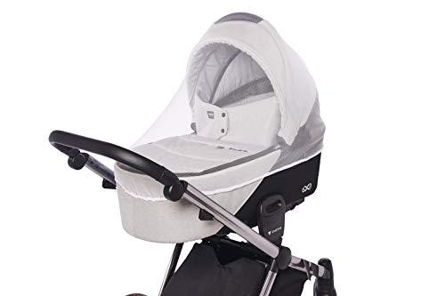 Mosquitera universal para cochecitos de bebé, sillas de paseo, cochecitos Buggy, capazos y cunas de viaje / Red anti insectos con goma elástica / Color: blanco