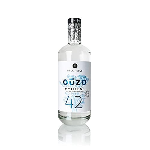 Deligreece - OUZO 42 - Mytilene - Inhalt 700 ml - 42 % vol. seit 1892 - im Meerwasser gewaschen und aus 100% Destillation - Kreata