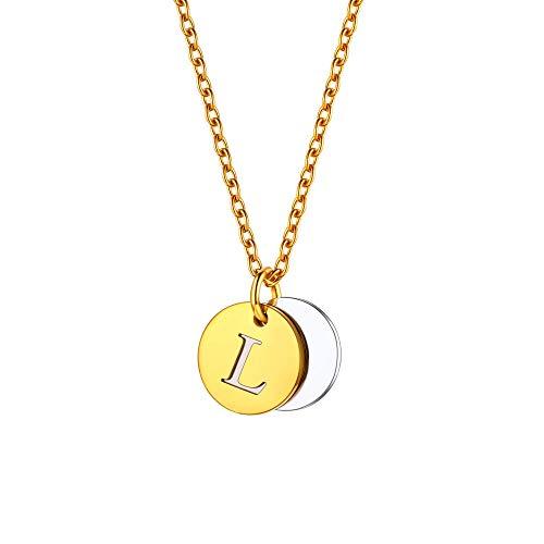 U7 Colar Tiny Initials de aço inoxidável banhado a ouro 18 K monograma A a Z pingente gargantilha com corrente de 45 cm, moeda de disco ou 100 idiomas I Love You Style, embalado para presente, texto personalizado gravável Small Dourado