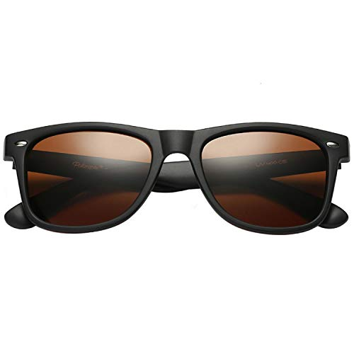 POLARSPEX POLARIZED UNISEX 80'S RETRO CLASSIC TRENDY STYLISH SUNGLASSES (Matte Black | Amber Driving, 52)