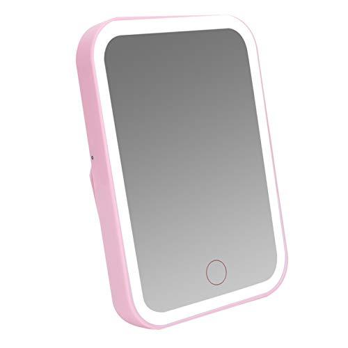 Espejo de maquillaje portátil con luz LED - Espejo cosmético de escritorio plegable - Espejo de mano con pilas - para gabinete de dormitorio/baño