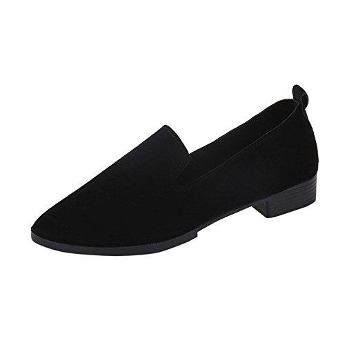 Yvelands Damen Slip On Flache Sandalen Freizeitschuhe Feste Mode Loafer(Schwarz,34 EU)