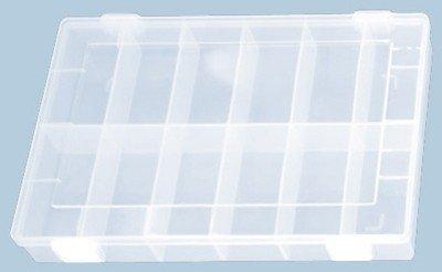 hünersdorff Sortimentskasten: stabile Sortierbox mit fester Fachaufteilung (12 Fächer), glasklar, Sortierkasten-Maße: T225 x B335 x H32 mm, Made in Germany