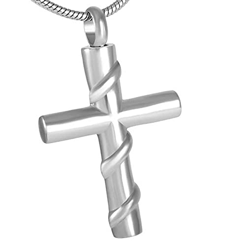 PicZhiwenture Stainless Steel Cross Cremation Jewelry Urns for Ashes Pendant Necklaces with fill kit and 20 Inch Chain