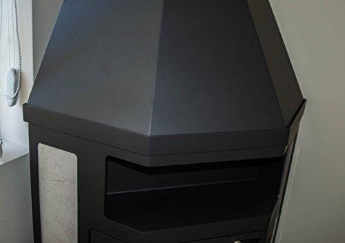 Estufa de leña modelo esquinero 14 – 18 kW de cerámica con forro superior flauta salida BlmSchV-2