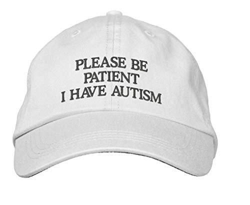 Gorra de béisbol bordada Vercxy Please Be Patient I Have Autism bordado Hip Hop Headwear Sombrero de béisbol para papá, color blanco