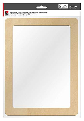 Marabu Marco serigrafiado de madera con certificación FSC, aprox. 33,7 x 24,9 x 0,5 cm, con tamiz 51T, ideal para impresión textil con pinturas acuáticas, carbón, talla única