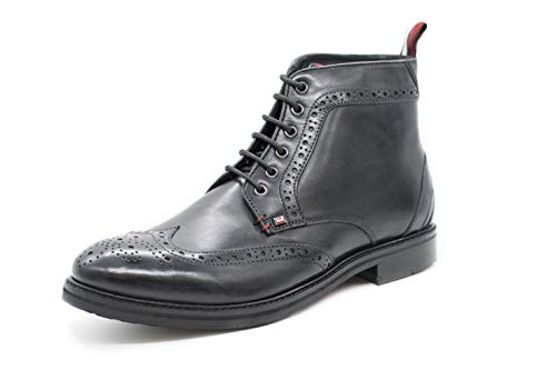 Ben Sherman Schnürrstiefel Herren Leather Boots Modell Cason II Lederstiefel (46 EU, Schwarz)
