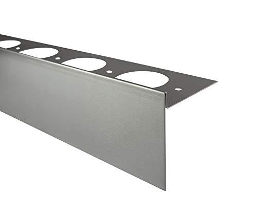 Fuchs Design Terrassenprofil Edelstahl (V2A) 250 cm Länge 55/13 mm Höhe Silber - Terrassenblende Terrassenleiste Kantenabdeckung für die Terrasse