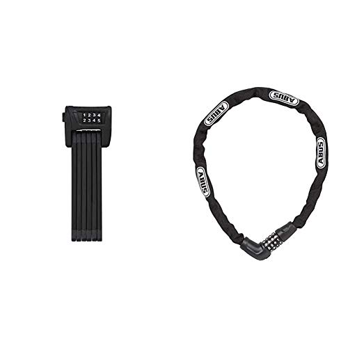 ABUS Faltschloss Bordo Combo 6100/90, Schwarz , 90 cm, 51796 & 5805C Vorhängeschloss, schwarz, 75 cm Länge