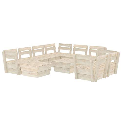 vidaXL Madera de Abeto Impregnada Muebles de Palets de Jardín 10 Piezas Mobiliario Hogar Exterior Terraza Sofá Mesa Asiento Suave con Respaldo