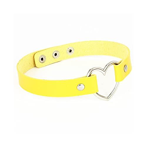 RXDZ Collar de Gargantilla de Cuero Femenino para Mujer corazón de Cuello Collares Collar de declaración de joyería Punk Regalo de Novia de Boda (Color : Yellow)
