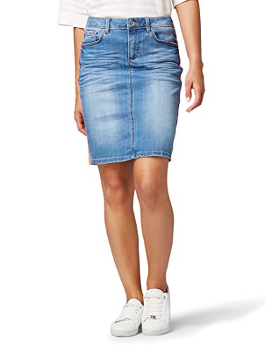 TOM TAILOR Damen Röcke Jeansrock mit seitlichem Tape Used Light Stone Blue Denim,38,10118,6000