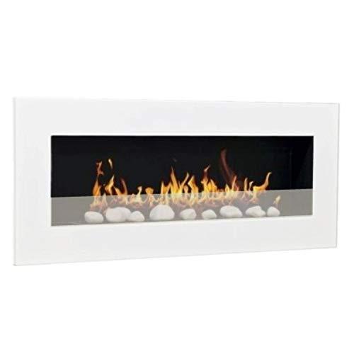 Don Fuego XXL - Caminetto a bioetanolo, da parete, con 24 pietre decorative, Bianco