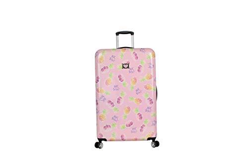 Betsey Johnson 30 Inch Checked Luggage Collection - Expandable Scratch Resistant (ABS + PC) Hardside Suitcase - Designer Lightweight Bag with 8-Rolling Spinner Wheels (Colada)