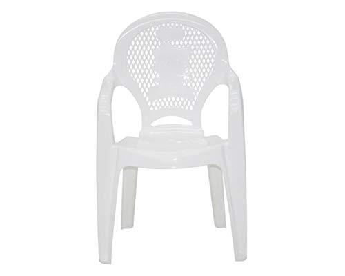 Cadeira Plástica Monobloco com Braços Infantil Estampada Catty Tramontina Branca