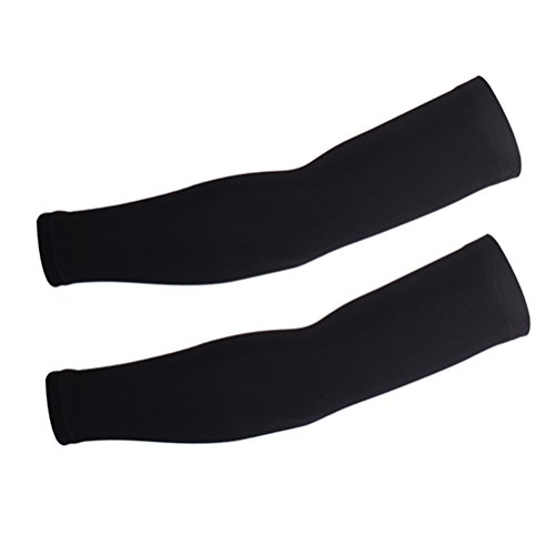 WINOMO UV Protection Arm Sleeves Breathable Sun Protection Elastic Elbow Brace Protector Size XL (Black)